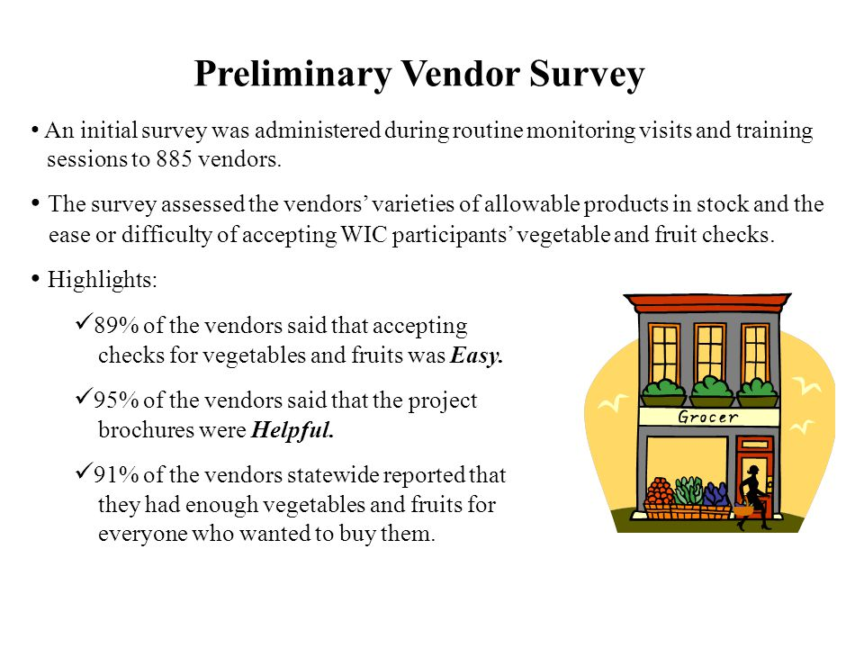 Preliminary Vendor Survey An initial survey was administered during routine monitoring visits and training sessions to 885 vendors.