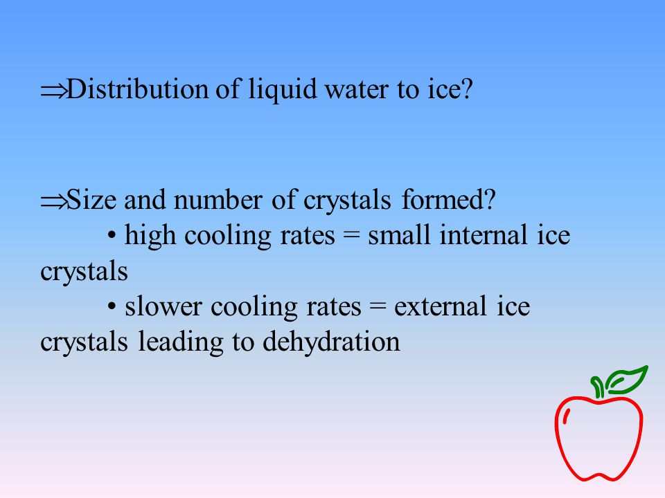  Distribution of liquid water to ice.  Size and number of crystals formed.