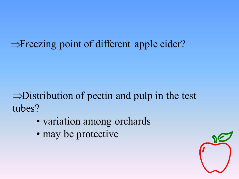  Freezing point of different apple cider?  Distribution of pectin and pulp in the test tubes? variation among orchards may be protective