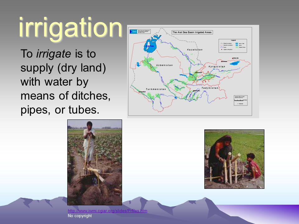 irrigation To irrigate is to supply (dry land) with water by means of ditches, pipes, or tubes.