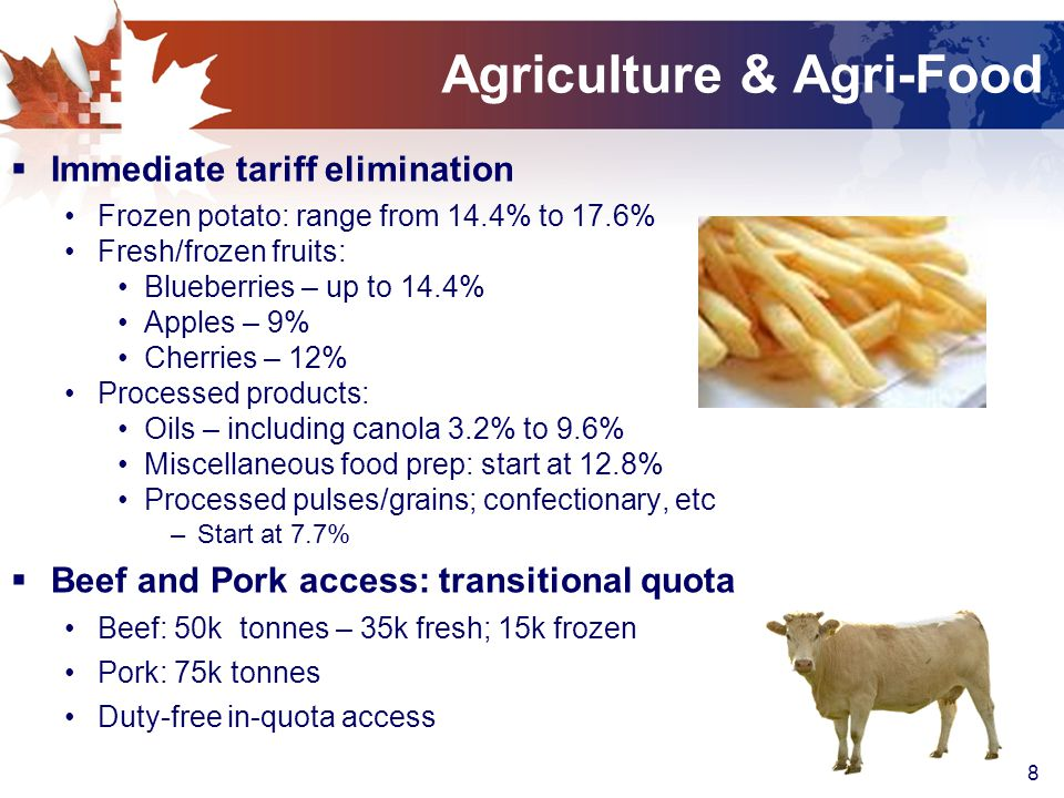 9 Agriculture and Agri-Food  Supply-Managed Industries remain intact No reduction in over-quota tariffs Poultry and eggs excluded Quota: 17,700 tonnes of cheese  Geographical Indications: Protection for 180 products --- meats, cheese Feta, Asiago, Munster, Gorgonzola, Fontina Grandfather clause for existing producers in Canada