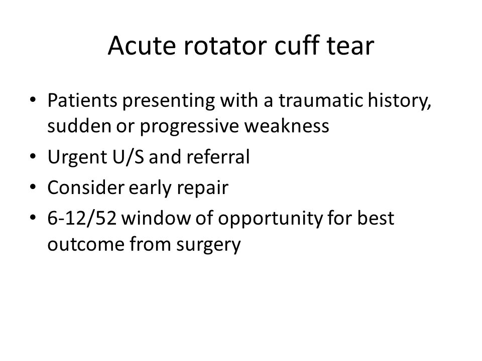 Chronic symptomatic cuff tear ?non-operative management for 3-6/12 Advice / NSAID's?/ physiotherapy X1 steroid injection.