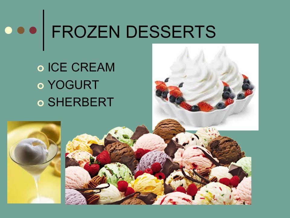 FROZEN DESSERTS ICE CREAM YOGURT SHERBERT