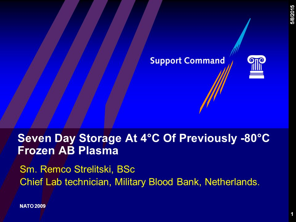 1 5/8/2015 Seven Day Storage At 4°C Of Previously -80°C Frozen AB Plasma Sm.