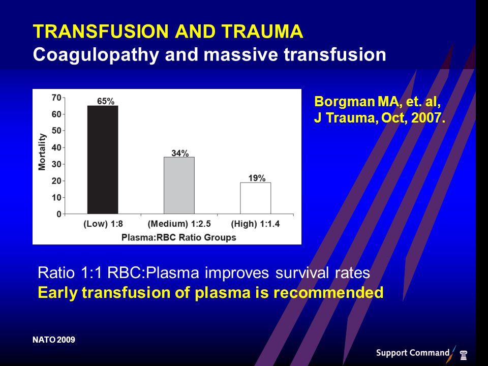 Borgman MA, et. al, J Trauma, Oct, 2007.