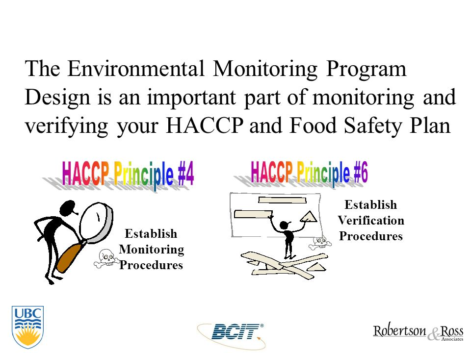 Establish Verification Procedures Establish Monitoring Procedures The Environmental Monitoring Program Design is an important part of monitoring and v