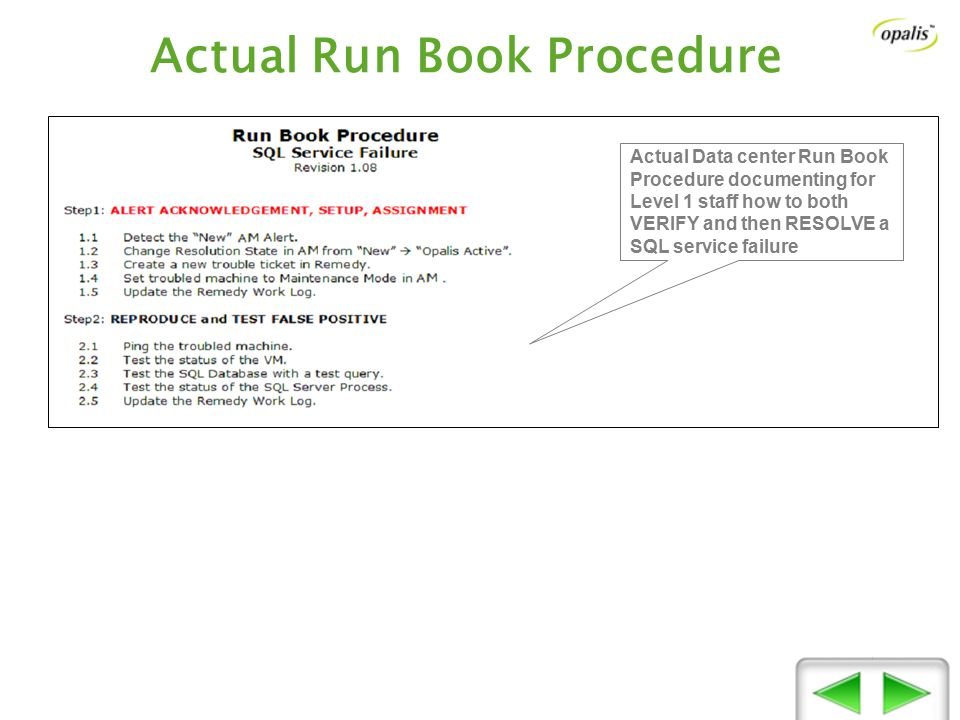 Actual Run Book Procedure Actual Data center Run Book Procedure documenting for Level 1 staff how to both VERIFY and then RESOLVE a SQL service failure