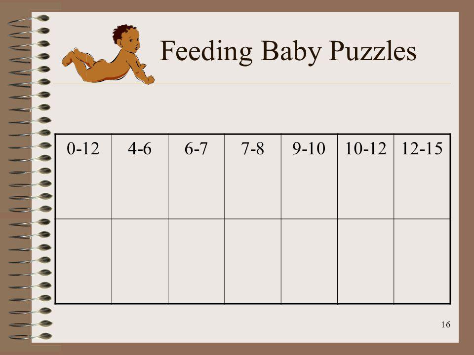 16 Feeding Baby Puzzles 0-124-66-77-89-1010-1212-15