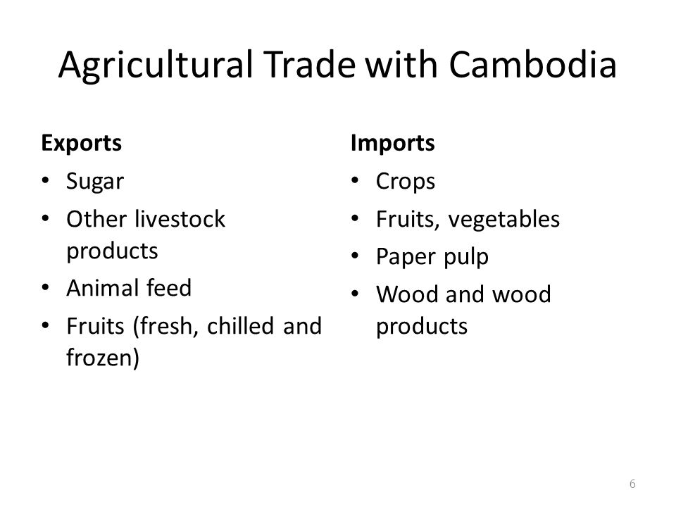 Agricultural Trade with Cambodia Exports Sugar Other livestock products Animal feed Fruits (fresh, chilled and frozen) Imports Crops Fruits, vegetable