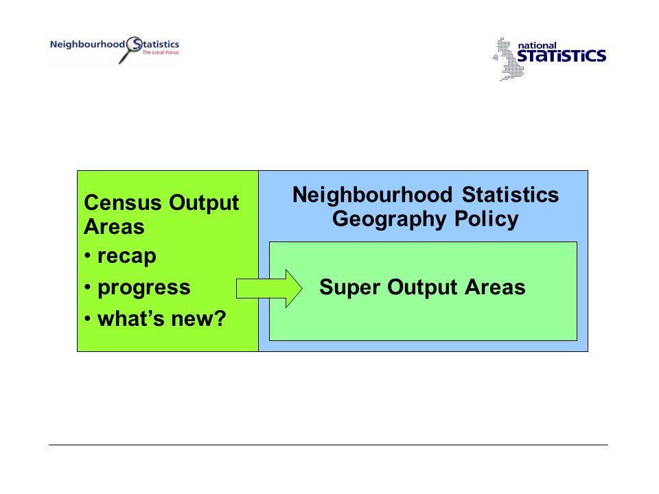 Geography Policy for NeSS Output Areas (OA) –Small - provide focus –Stable - help with time series –Stable - ease integration –Stable - can act as a building brick –Homogeneous - reflect the real world –Help with disclosure –Independent