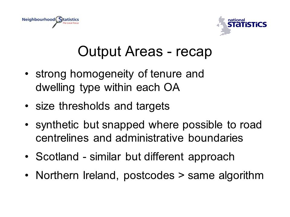 Looking Ahead Collect and hold –core geography Publish via web site –core geography and –user defined geographies, either ad-hoc popular, prepared
