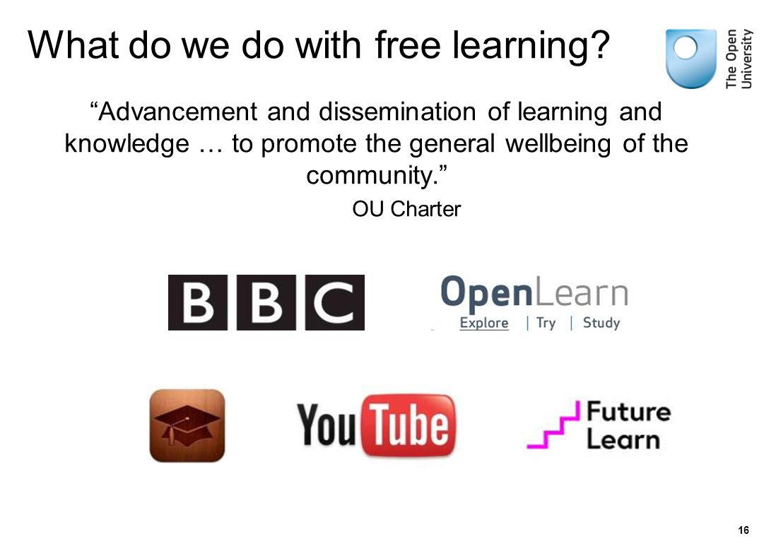 Advancement and dissemination of learning and knowledge … to promote the general wellbeing of the community. OU Charter 16 What do we do with free learning?