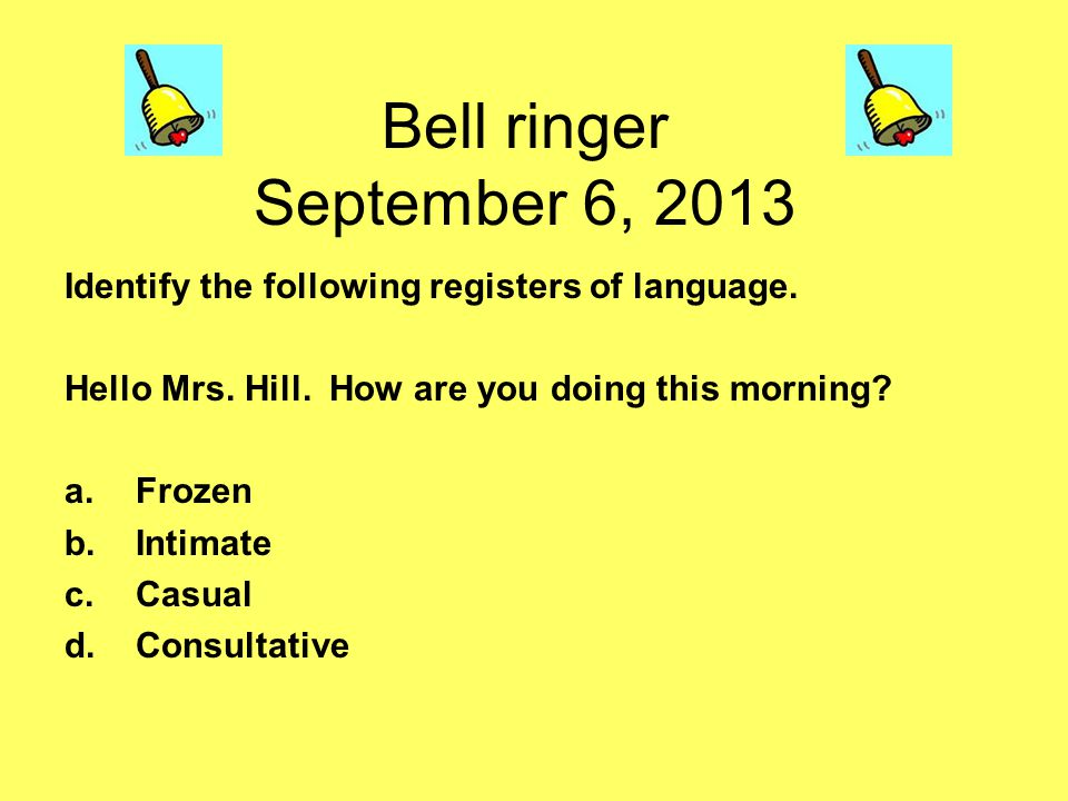 Bell ringer September 6, 2013 Identify the following registers of language.
