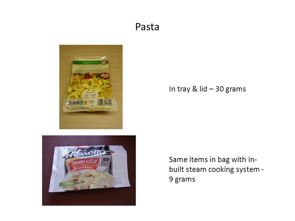Pasta In tray & lid – 30 grams Same items in bag with in- built steam cooking system - 9 grams