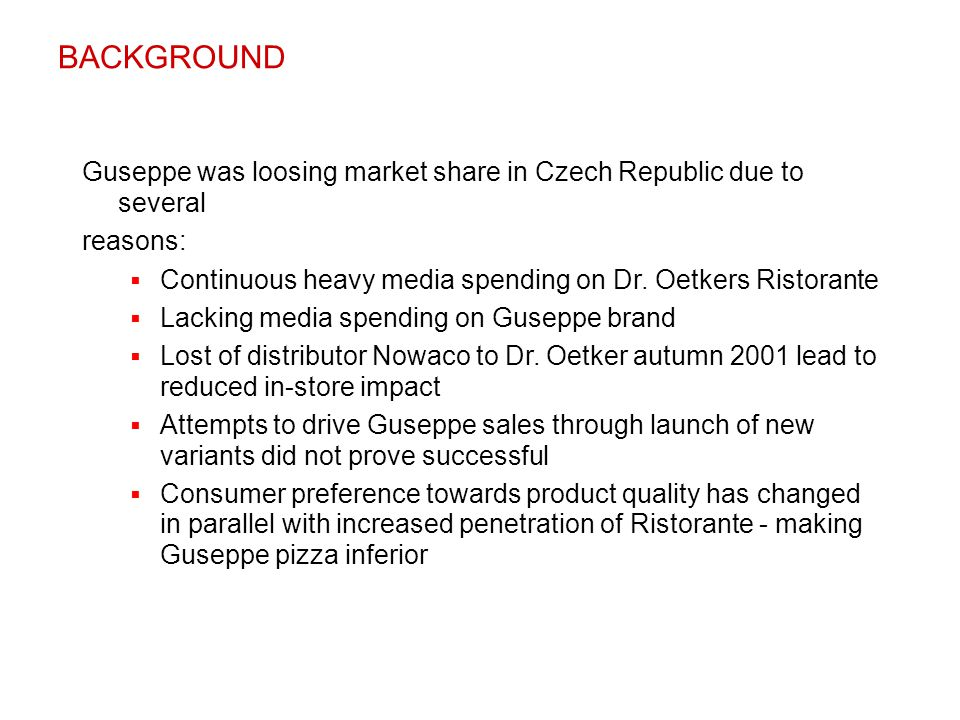 Guseppe was loosing market share in Czech Republic due to several reasons:  Continuous heavy media spending on Dr. Oetkers Ristorante  Lacking media