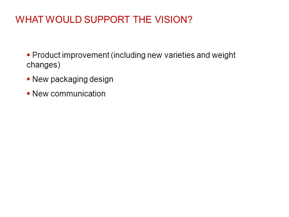 WHAT WOULD SUPPORT THE VISION?  Product improvement (including new varieties and weight changes)  New packaging design  New communication