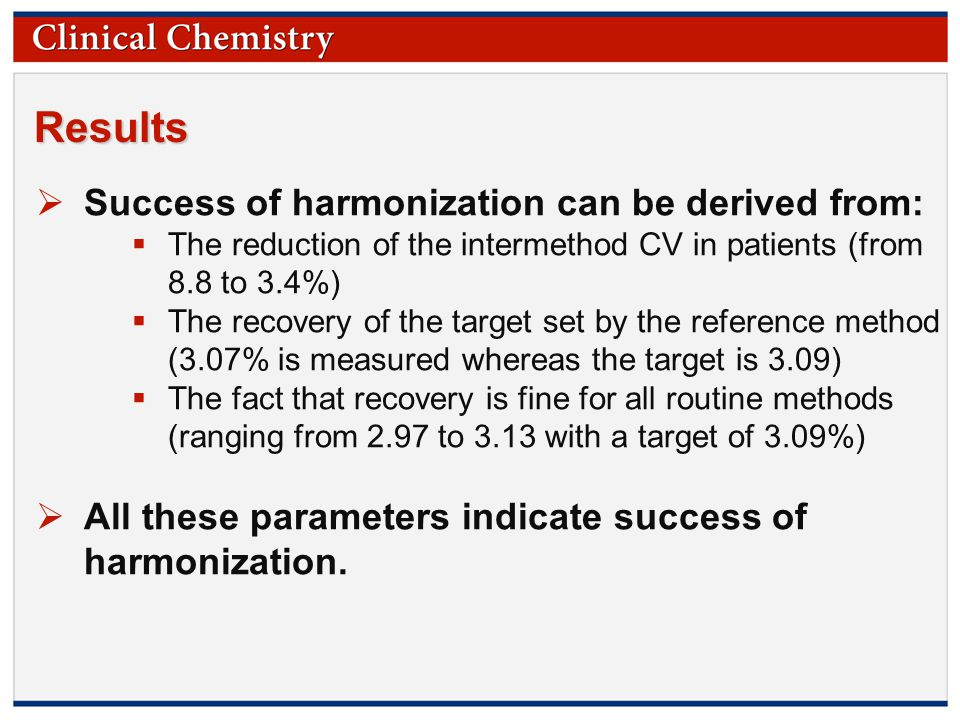 © Copyright 2009 by the American Association for Clinical Chemistry Results  Success of harmonization can be derived from:  The reduction of the intermethod CV in patients (from 8.8 to 3.4%)  The recovery of the target set by the reference method (3.07% is measured whereas the target is 3.09)  The fact that recovery is fine for all routine methods (ranging from 2.97 to 3.13 with a target of 3.09%)  All these parameters indicate success of harmonization.