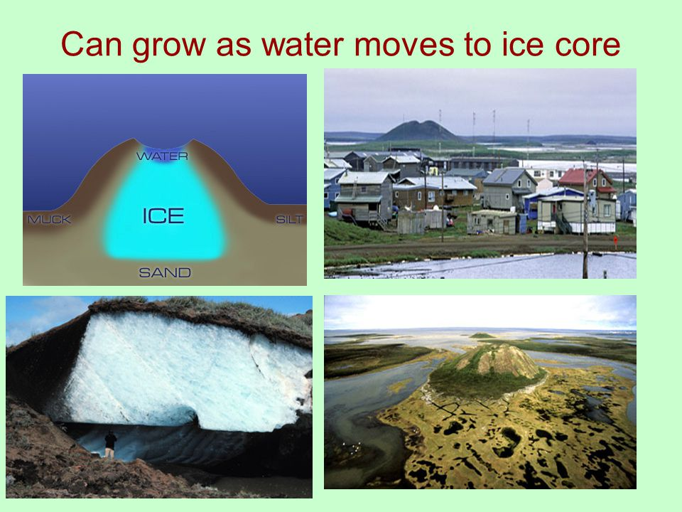 Can grow as water moves to ice core