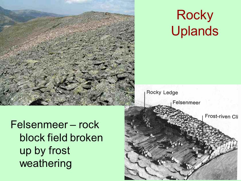 Rocky Uplands Felsenmeer – rock block field broken up by frost weathering