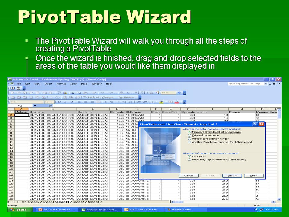 PivotTable Wizard  The PivotTable Wizard will walk you through all the steps of creating a PivotTable  Once the wizard is finished, drag and drop selected fields to the areas of the table you would like them displayed in