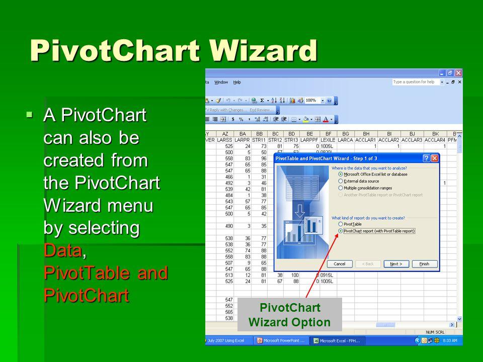 PivotChart Wizard  A PivotChart can also be created from the PivotChart Wizard menu by selecting Data, PivotTable and PivotChart PivotChart Wizard Option