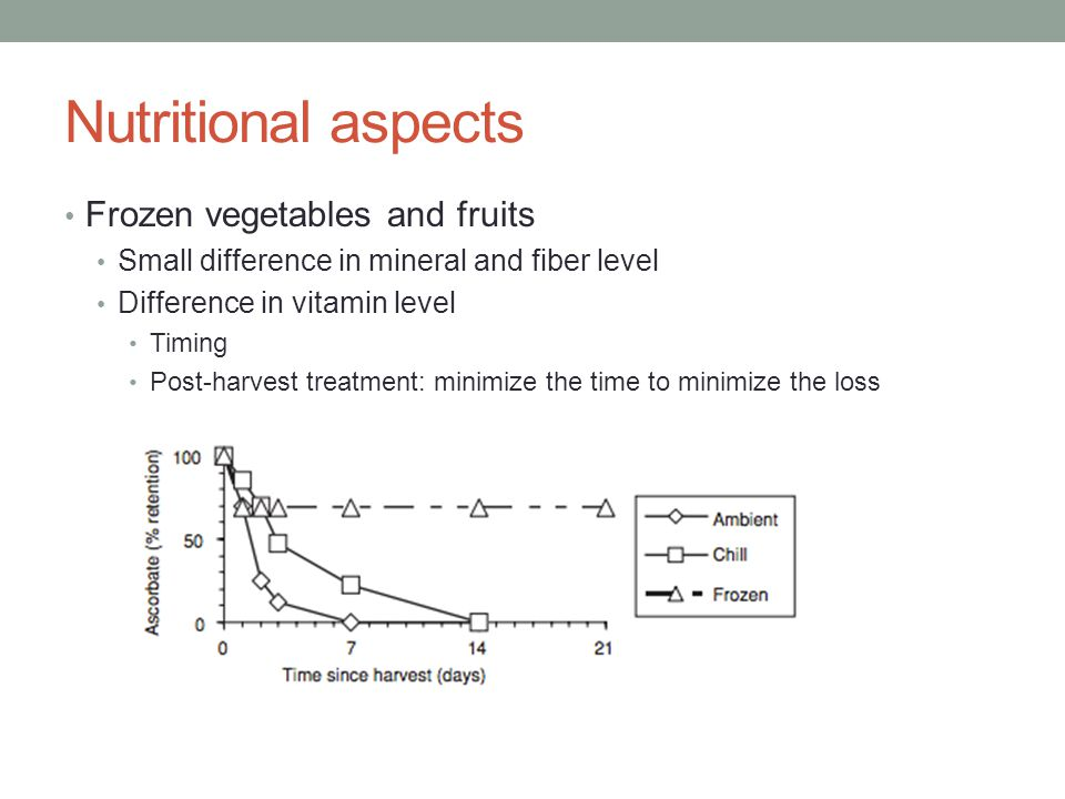 Nutritional aspects Frozen vegetables and fruits Small difference in mineral and fiber level Difference in vitamin level Timing Post-harvest treatment: minimize the time to minimize the loss