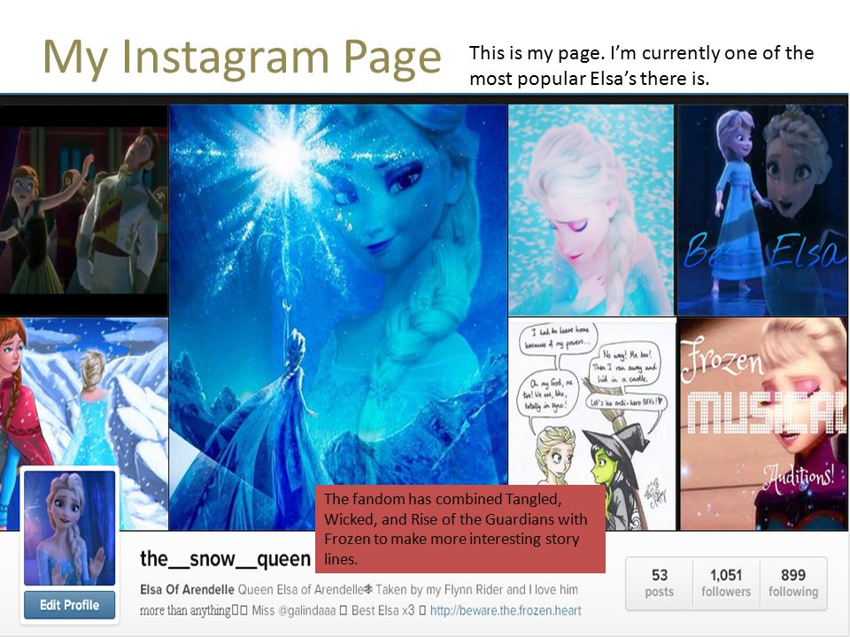 My Instagram Page This is my page. I'm currently one of the most popular Elsa's there is.