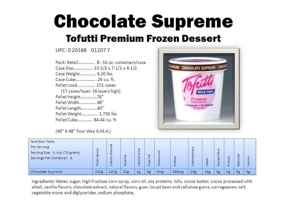 Wildberry Supreme Tofutti Premium Frozen Dessert Ingredients: Water, sugar, corn oil, corn syrup solids, strawberry, blackberry, raspberry purees, soy proteins, tofu, cocoa butter, Vanilla and natural flavors, guar, locust bean and cellulose gums, carrageenan, pectin, citric acid, salt, vegetable mono and diglycerides.