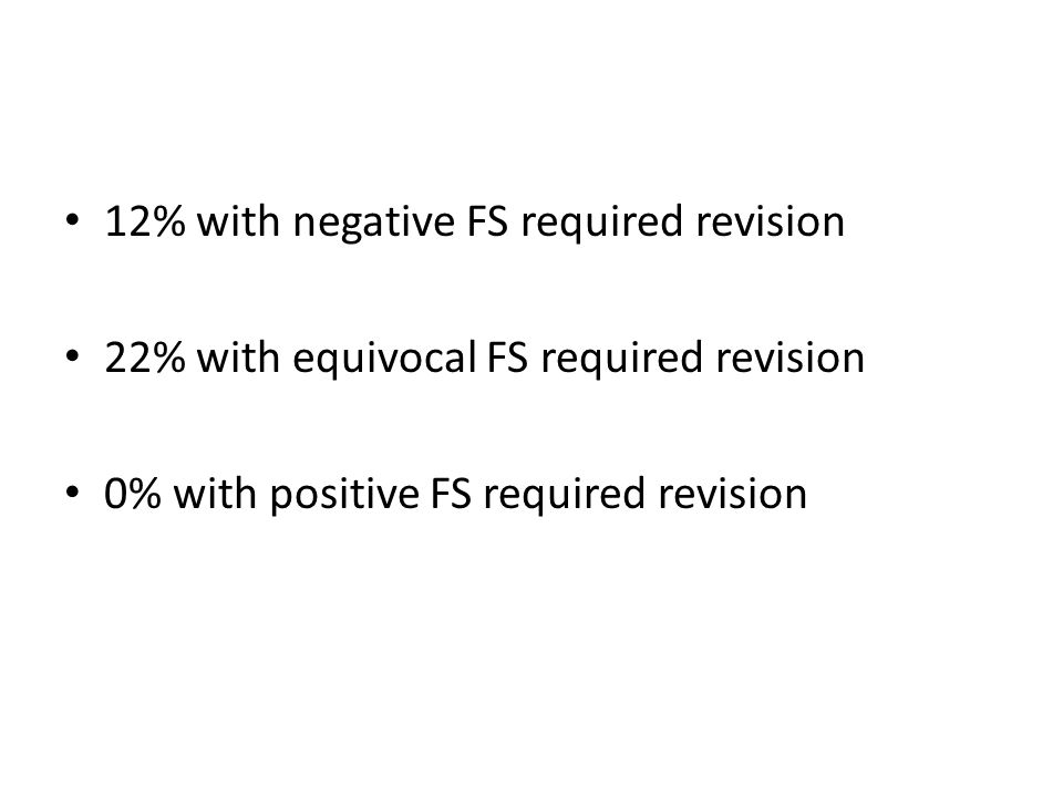 12% with negative FS required revision 22% with equivocal FS required revision 0% with positive FS required revision
