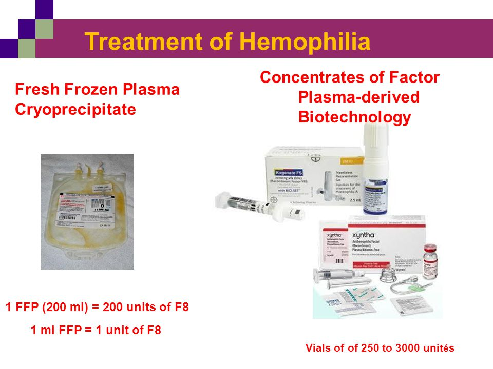 Treatment of Hemophilia Fresh Frozen Plasma Cryoprecipitate Concentrates of Factor Plasma-derived Biotechnology Vials of of 250 to 3000 unit é s 1 FFP
