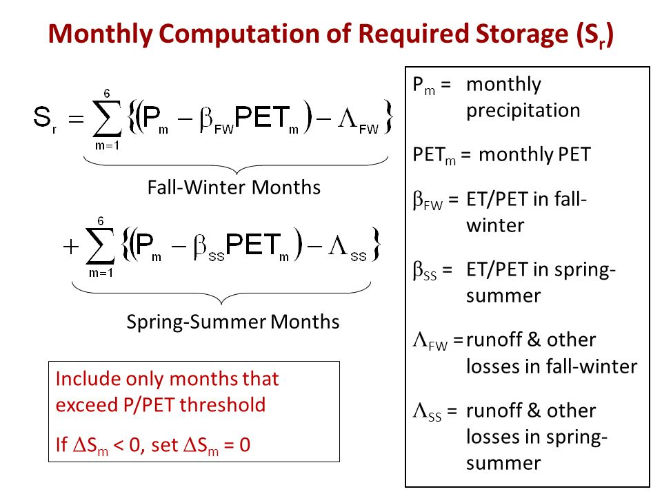 Monthly Computation of Required Storage (S r ) P m =monthly precipitation PET m =monthly PET β FW =ET/PET in fall- winter β SS =ET/PET in spring- summ
