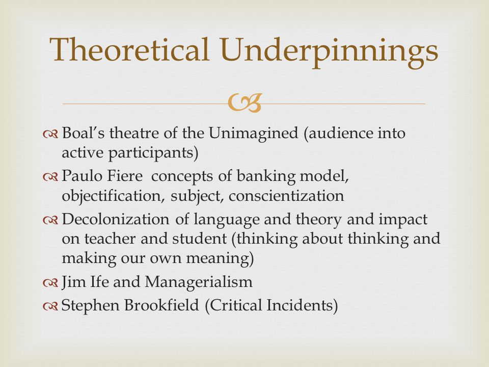   Boal's theatre of the Unimagined (audience into active participants)  Paulo Fiere concepts of banking model, objectification, subject, conscientization  Decolonization of language and theory and impact on teacher and student (thinking about thinking and making our own meaning)  Jim Ife and Managerialism  Stephen Brookfield (Critical Incidents) Theoretical Underpinnings