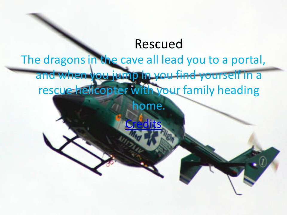 The dragons in the cave all lead you to a portal, and when you jump in you find yourself in a rescue helicopter with your family heading home.