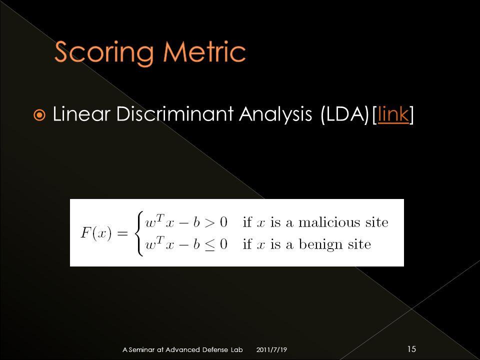  Linear Discriminant Analysis (LDA)[link]link 2011/7/19 A Seminar at Advanced Defense Lab 15