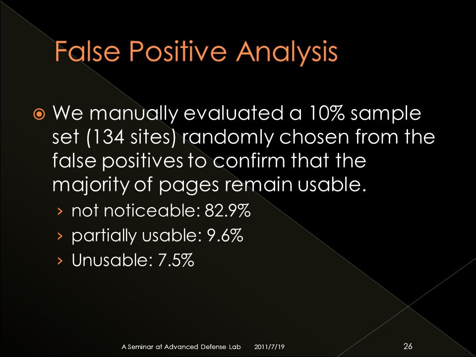  We manually evaluated a 10% sample set (134 sites) randomly chosen from the false positives to confirm that the majority of pages remain usable.