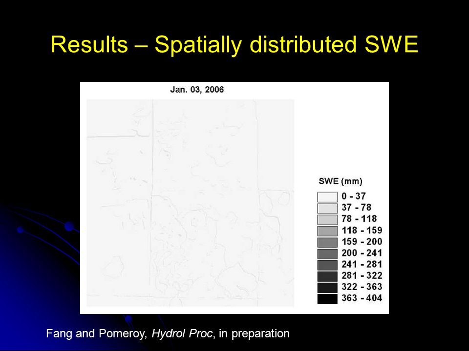 Results – Spatially distributed SWE Fang and Pomeroy, Hydrol Proc, in preparation