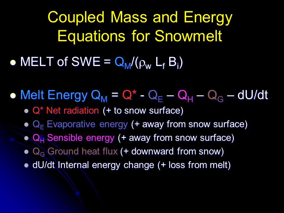 Coupled Mass and Energy Equations for Snowmelt MELT of SWE = Q M /(  w L f B i ) MELT of SWE = Q M /(  w L f B i ) Melt Energy Q M = Q* - Q E – Q H