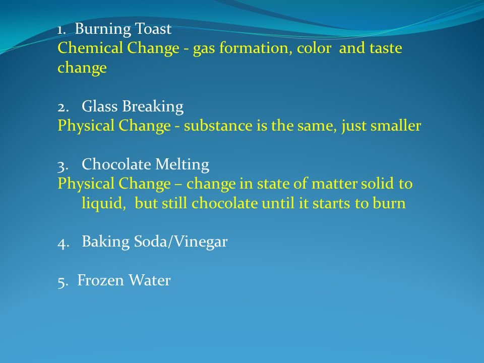 1.Gas formation --- new substance fizzes and bubbles.