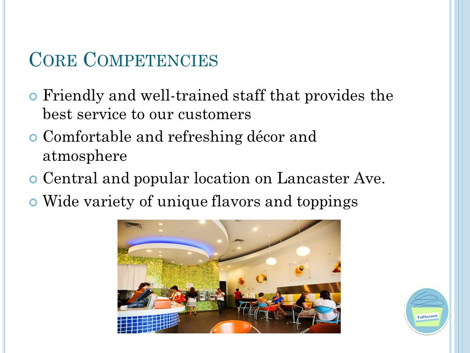 C ORE C OMPETENCIES Friendly and well-trained staff that provides the best service to our customers Comfortable and refreshing décor and atmosphere Central and popular location on Lancaster Ave.