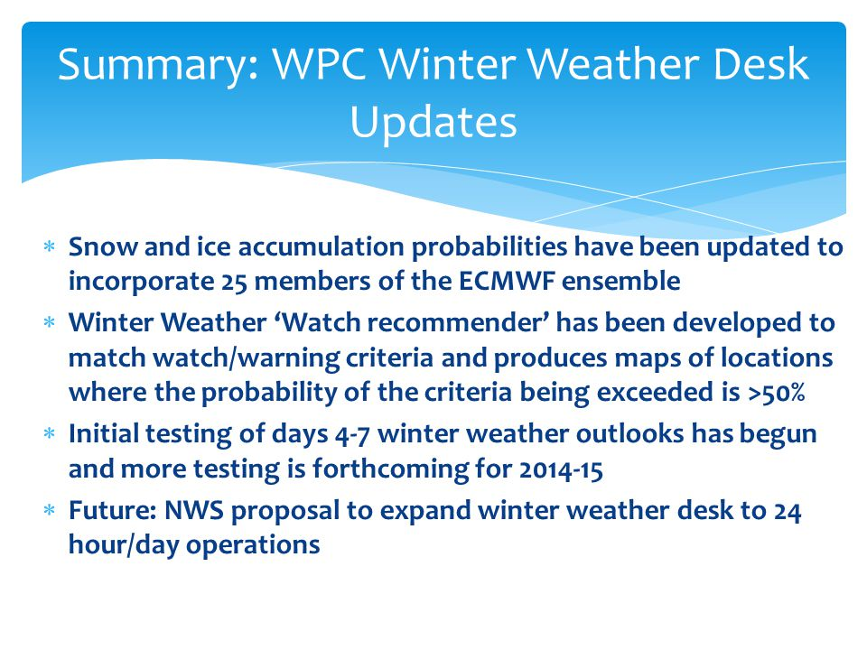  Snow and ice accumulation probabilities have been updated to incorporate 25 members of the ECMWF ensemble  Winter Weather 'Watch recommender' has been developed to match watch/warning criteria and produces maps of locations where the probability of the criteria being exceeded is >50%  Initial testing of days 4-7 winter weather outlooks has begun and more testing is forthcoming for  Future: NWS proposal to expand winter weather desk to 24 hour/day operations Summary: WPC Winter Weather Desk Updates