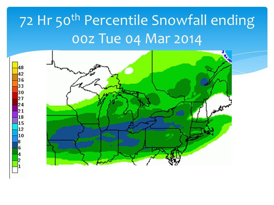 72 Hr 50 th Percentile Snowfall ending 00z Tue 04 Mar 2014