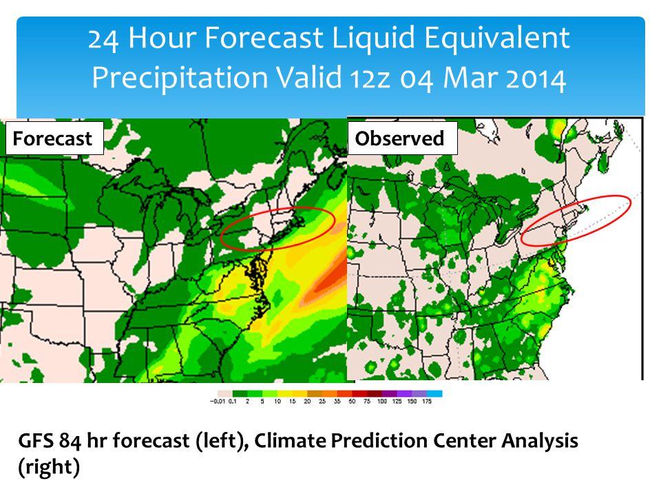 GFS 84 hr forecast (left), Climate Prediction Center Analysis (right) 24 Hour Forecast Liquid Equivalent Precipitation Valid 12z 04 Mar 2014 ForecastObserved