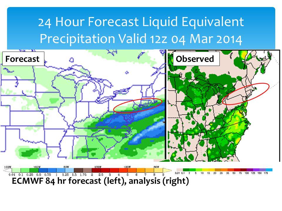 ECMWF 84 hr forecast (left), analysis (right) 24 Hour Forecast Liquid Equivalent Precipitation Valid 12z 04 Mar 2014 ForecastObserved