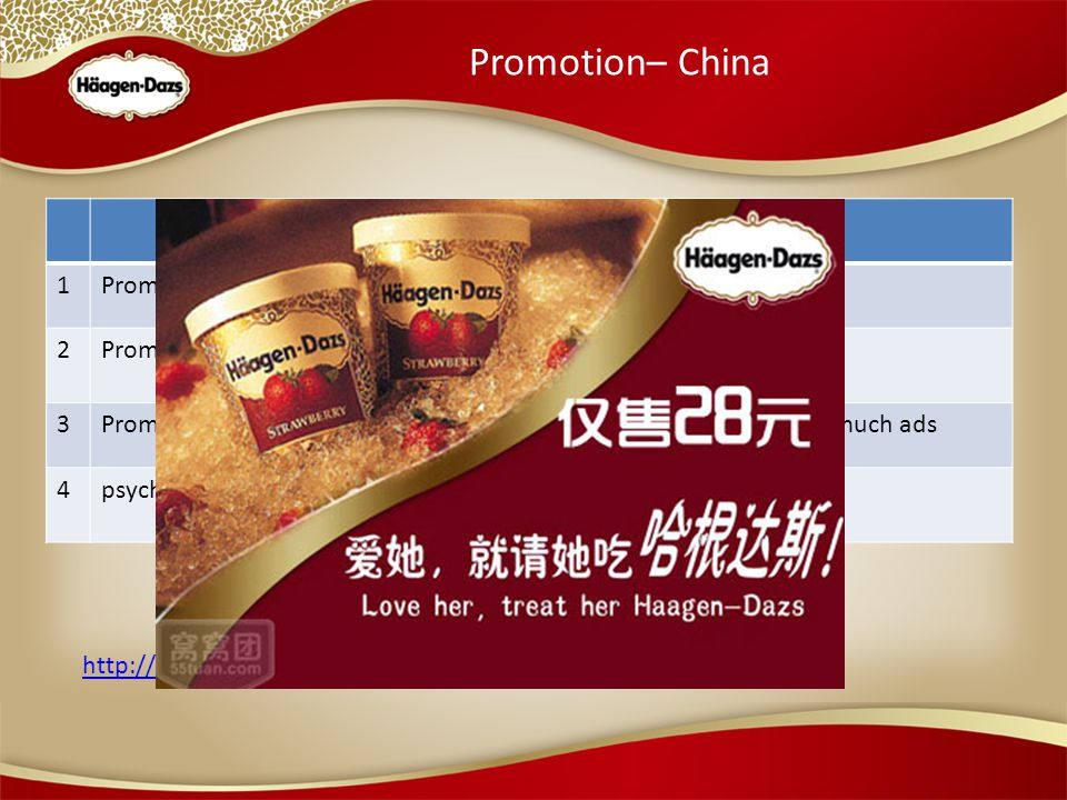 Promotion– China http://www.youtube.com/watch v=oxB-juz3xUQ 1Promotion agesunshine generation 2Promotion groupPetty bourgeoisie (Dish instead of snacks) 3Promotion channelMouth to mouth, bill board, do not need much ads 4psychologyBalance between price and self-content Connection with Love
