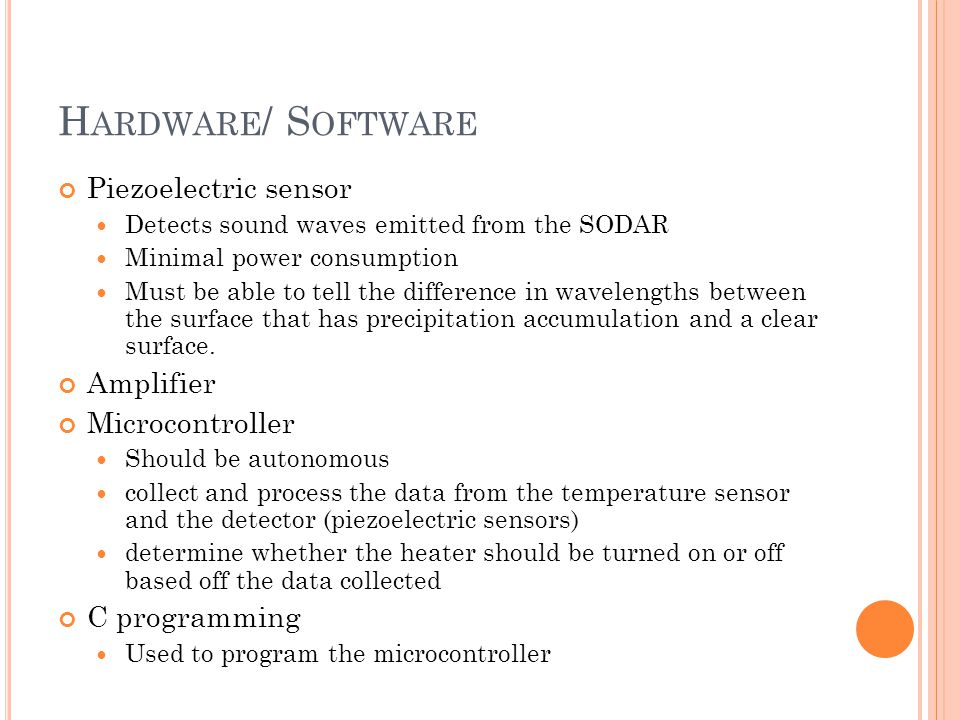 H ARDWARE / S OFTWARE Piezoelectric sensor Detects sound waves emitted from the SODAR Minimal power consumption Must be able to tell the difference in wavelengths between the surface that has precipitation accumulation and a clear surface.