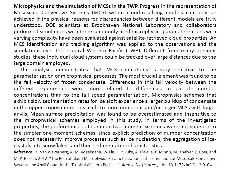 Microphysics and the simulation of MCSs in the TWP.