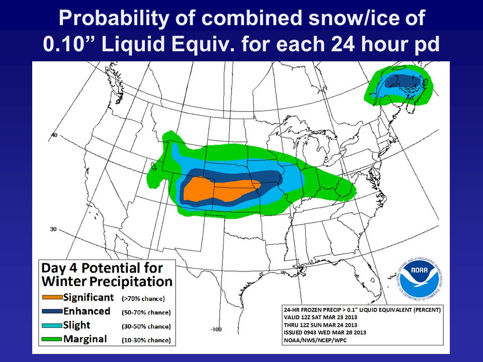 Probability of combined snow/ice of 0.10 Liquid Equiv. for each 24 hour pd