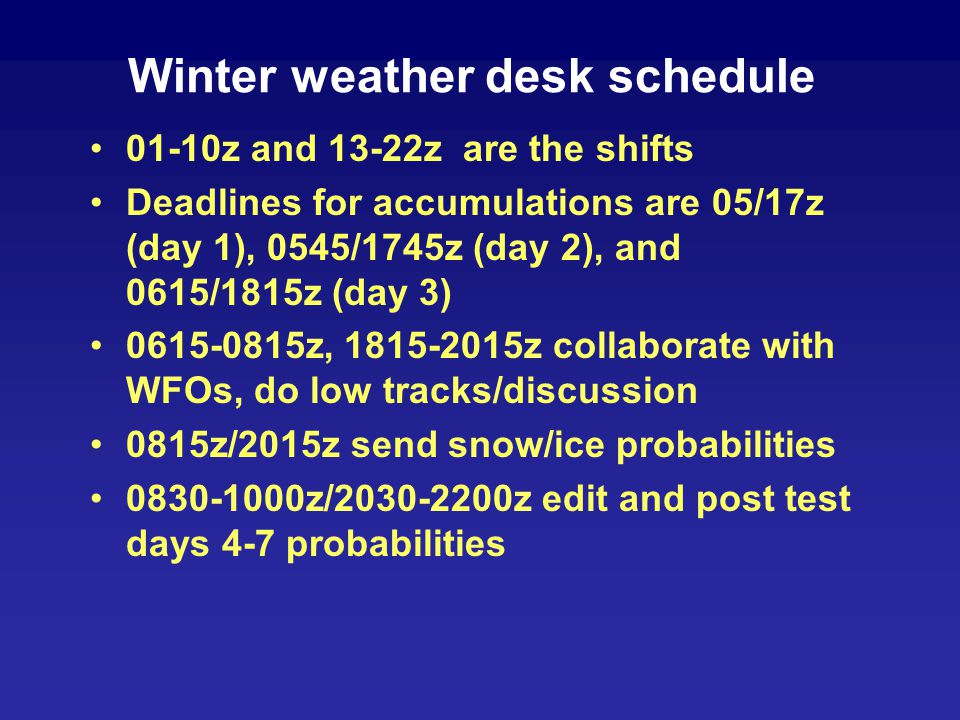 Winter weather desk schedule 01-10z and 13-22z are the shifts Deadlines for accumulations are 05/17z (day 1), 0545/1745z (day 2), and 0615/1815z (day 3) 0615-0815z, 1815-2015z collaborate with WFOs, do low tracks/discussion 0815z/2015z send snow/ice probabilities 0830-1000z/2030-2200z edit and post test days 4-7 probabilities