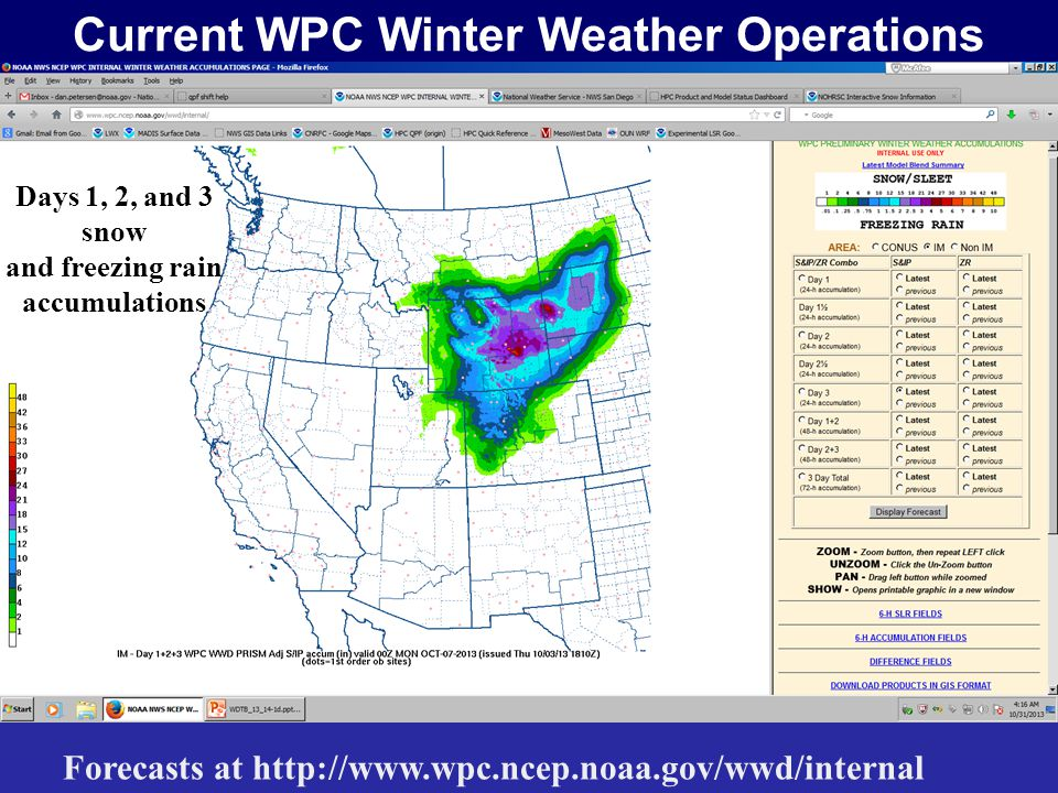 Current WPC Winter Weather Operations Forecasts at http://www.wpc.ncep.noaa.gov/wwd/internal Forecasts for both snow and freezing rain Days 1, 2, and 3 snow and freezing rain accumulations