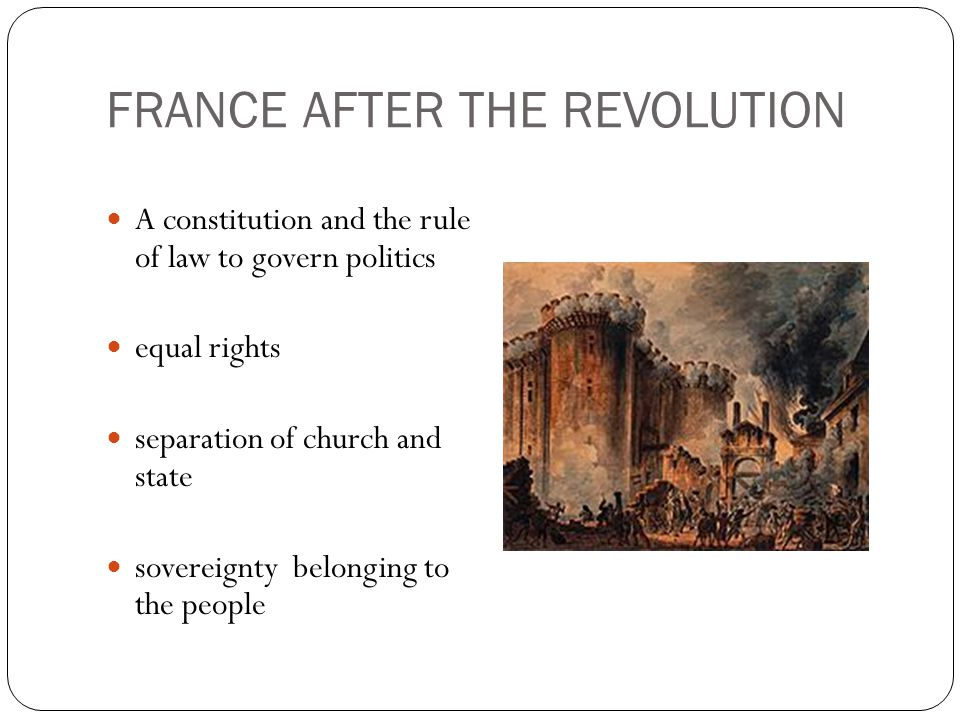 FRANCE AFTER THE REVOLUTION A constitution and the rule of law to govern politics equal rights separation of church and state sovereignty belonging to the people